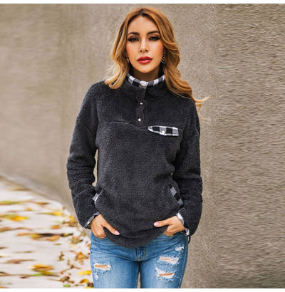 Pull Col Montant Boutonné Femme