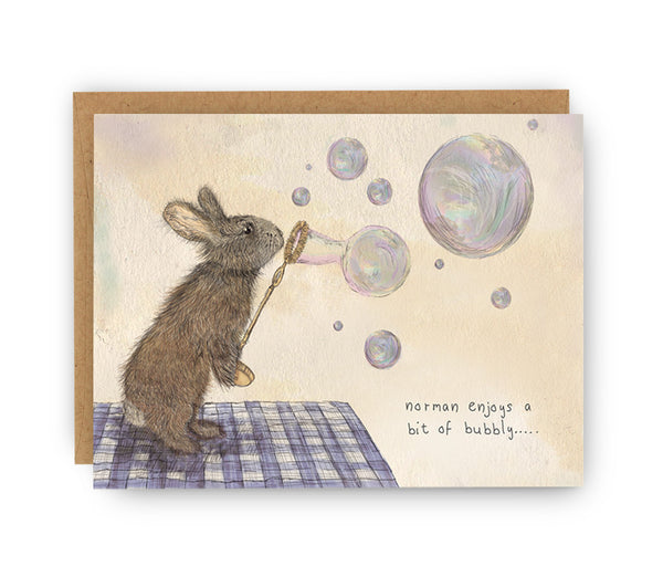 Norman Rabbit Bubbly Card