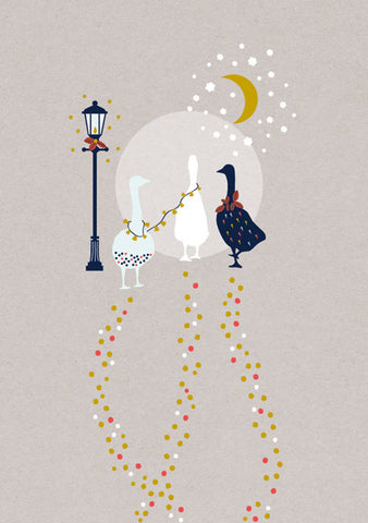 Geese & Street Lamp Christmas Card Box