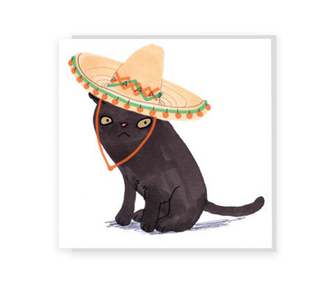 Cat In Sombrero Greeting Card
