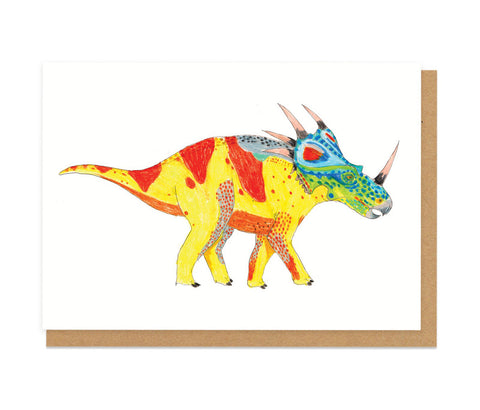 Colourful Triceratops Greeting Card