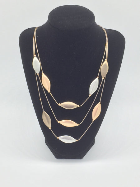 Mixed Metallic Layered Necklace