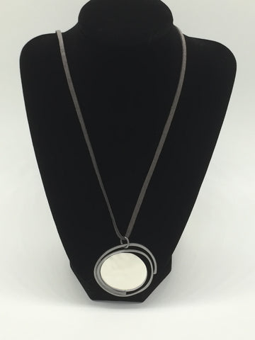 Long Silver Disk Necklace