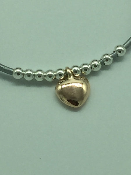 Grey Leather Rose Gold Heart Bracelet