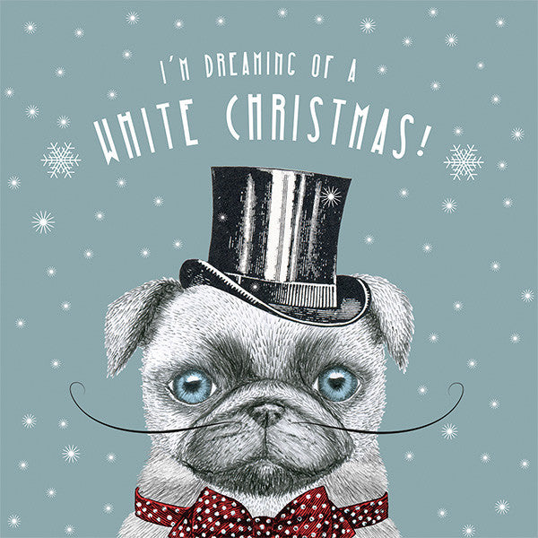 Pug White Christmas Charity Cards