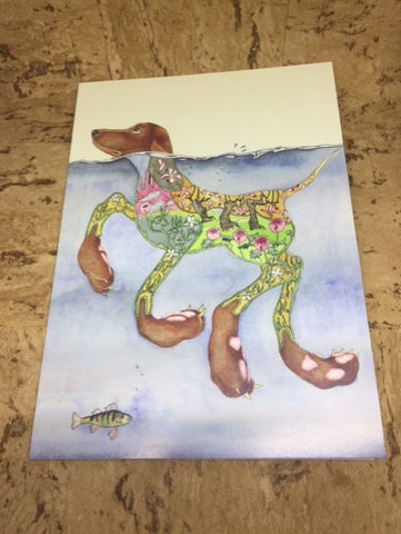 Doggy Paddle Greeting Card