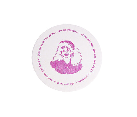 Dolly Parton Letterpress Coaster Pair