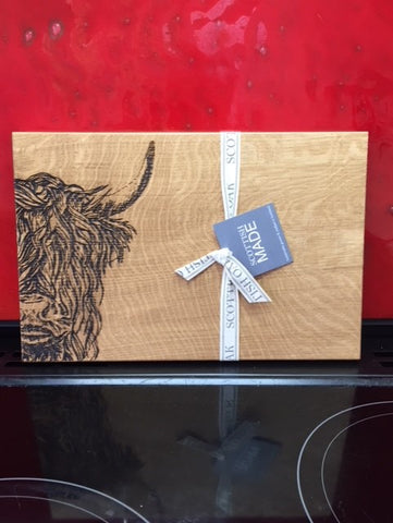 Highland Cow Oak Serving Board