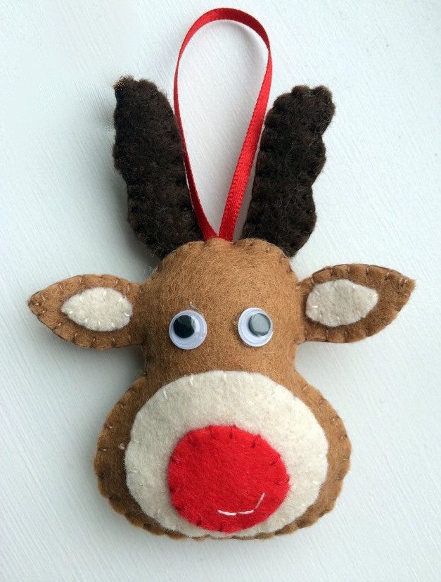 Rudolph Christmas Decorations.Felt Rudolph Christmas Decoration