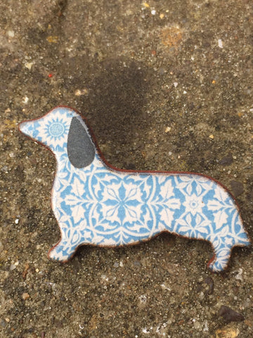 Ceramic Dacshund Brooch