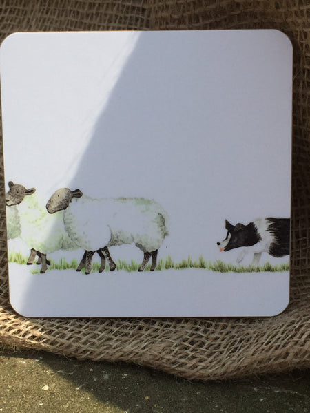 'Come Bye' Collie & Sheep Coaster