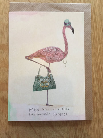 Peggy Flamingo Greeting Card