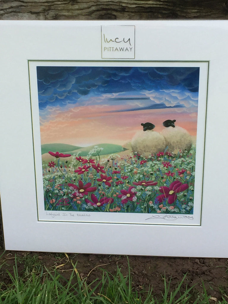 Ladybird In The Meadow Sheep Print