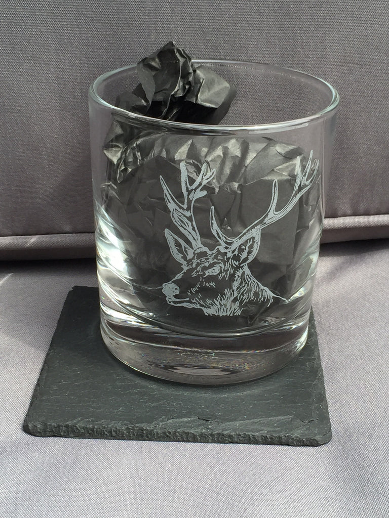 Stag Engraved Glass Tumbler & Slate Coaster Gift Pack