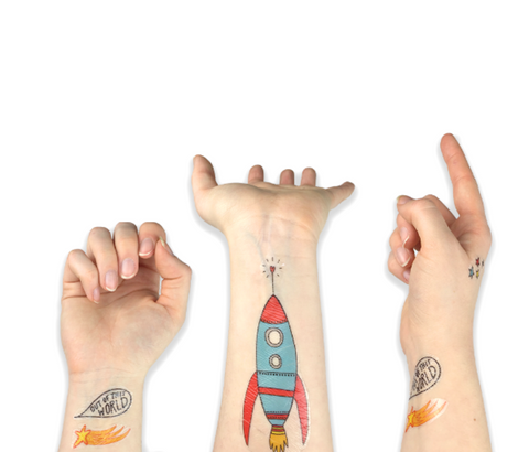 Spaced Out Temporary Tattoos - On Hands