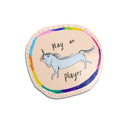 Play on Player Unicorn Nicola Rowlands Sticker
