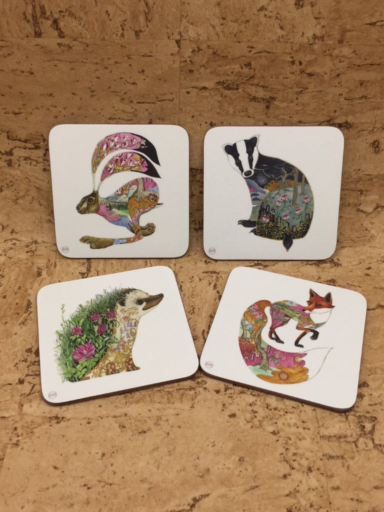 Set of 4 Woodland Wildlife Themed Coasters