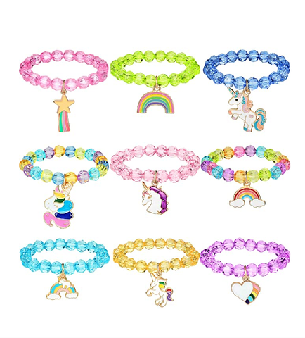 9 Colorful Unicorn & Rainbow Beaded Bracelets with Charm