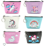 6pc Women Girl Unicorn Zipper Coin Purse Clutch Pouch Wallet
