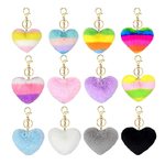 12pcs Pom Poms Keychains Fluffy Heart Shaped Pom Poms Keyring Pompoms