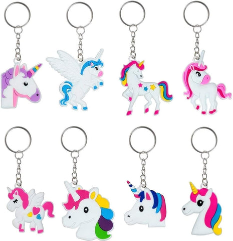 8 Styles of Rainbow Unicorn Keychains (Key Ring Decoration)