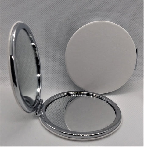 Round Compact Mirror Double-Sided 1X/3X Magnification PU Leather