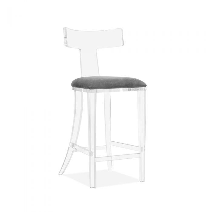 Tristan Bar Stool in Grey Velvet - Interlude Home
