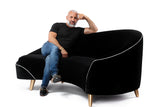 Melodia Curved Sofa : Jet Black and Snow Velvet Gold Legs - JAMES By Jimmy DeLaurentis