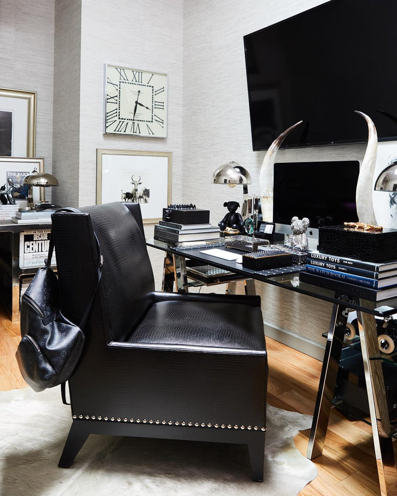 Roma Chair : Faux Leather Black - JAMES By Jimmy DeLaurentis