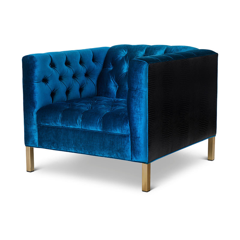 Capri Chair : Peacock Velvet/ Croc Leather /Gold Legs - JAMES By Jimmy DeLaurentis