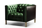 Capri Arm Chair : Juniper Velvet W / Croc Leather/ Gold Legs - JAMES By Jimmy DeLaurentis