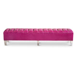 Carmella Bench :Magenta leather with acrylic legs- JAMES By Jimmy DeLaurentis