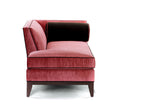Emma Chaise Lounge - Sangria Velvet W/ Brown Velvet Bolster Sangria Welt- JAMES By Jimmy DeLaurentis