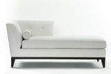 Luciana Chaise Left Facing: Bolster & Frame In White Wool Velvet - JAMES By Jimmy DeLaurentis