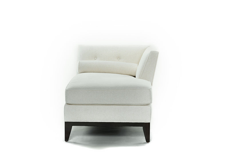 Luciana Chaise Right Facing : Bolster & Frame In White Wool Velvet - JAMES By Jimmy DeLaurentis