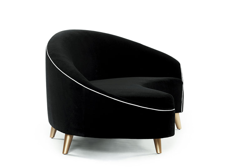 Melodia Curved Sofa : Jet Black and Snow Velvet /Gold Legs - JAMES By Jimmy DeLaurentis