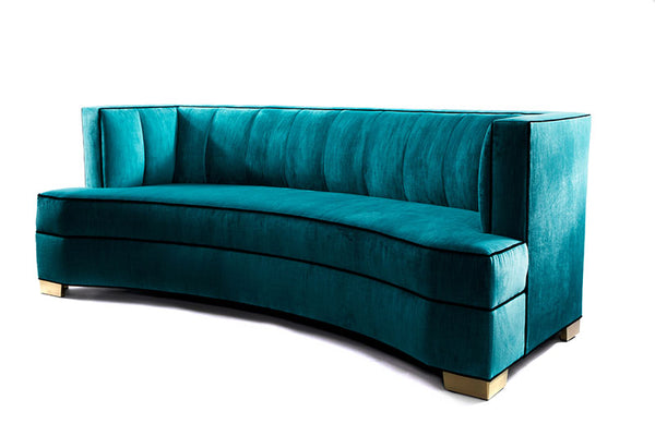 Alessandra Sofa Peacock Velvet -JAMES By James DeLaurentis