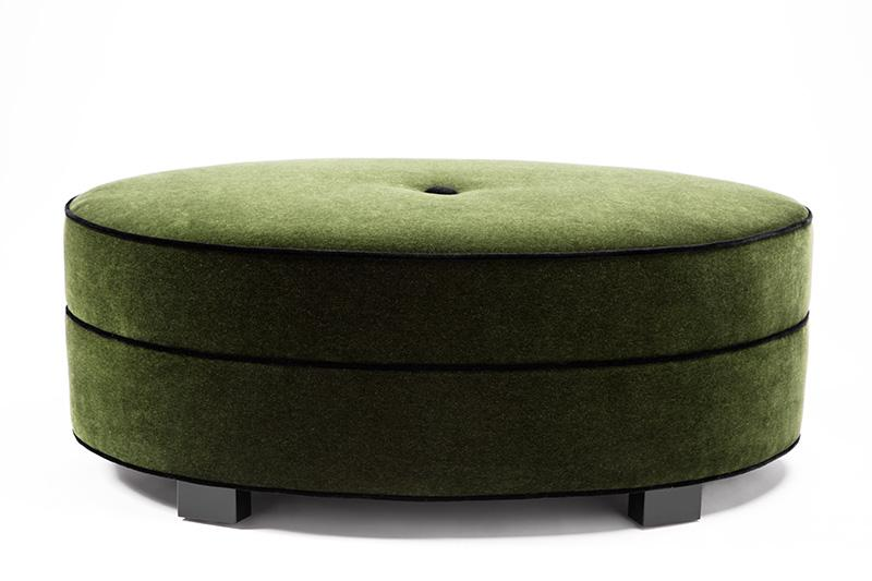 Alessandra Ottoman - Emerald Mohair W/ Jet Black Welt - JAMES By Jimmy DeLaurentis