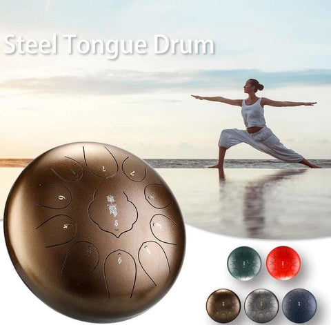 HLURU® Huashu Alloy Steel Tongue Drum Hangpan Drum 12 Inches 11 Notes C-Key Percussion Instrument,USB C Charger