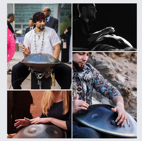 HLURU® Hand Pan Drum 22 Inches 10 Tones Handmade Performance Sound Healing Handpan,Garden Light Solar