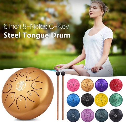 HLURU® Huashu Alloy Steel Tongue Drum Handpan Drum 6 Inch 8-Notes C-Key Percussion Instrument,USB C Charger