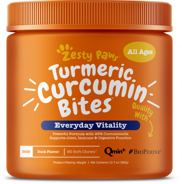 Zesty Paws Turmeric Curcumin Bites Joint & Immune Health Duck Soft Chews for Dogs