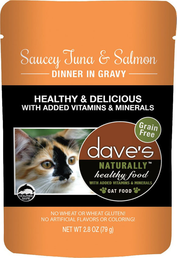 Dave's Naturally Healthy Sauccy Grain Free Tuna & Salmon Dinner Recipe Cat Food Pouch