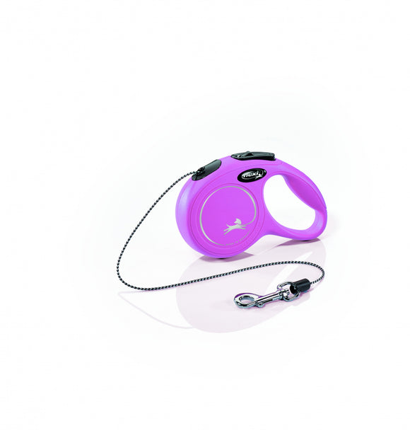 Flexi New Classic Cord Retractable Dog Leash, Pink