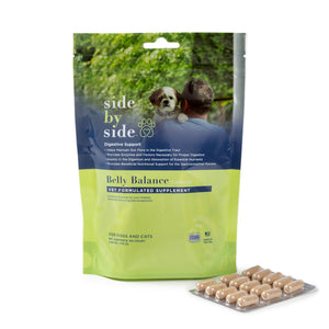 Side By Side Belly Balance Supplement for Prebiotic & Probiotic Digestive Support Capsules Dog Supplements