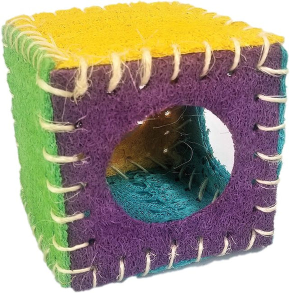 A & E Nibbles Loofah Cube Small Animal Toy