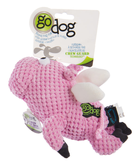 Go Dog Checkers Flying Pig with Chew Guard Technology Durable Plush Squeaker Dog Toy Pink