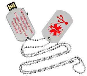 Dog Tag Medical Alert ID USB