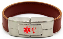 Load image into Gallery viewer, Medical Alert ID USB Leather Bracelet