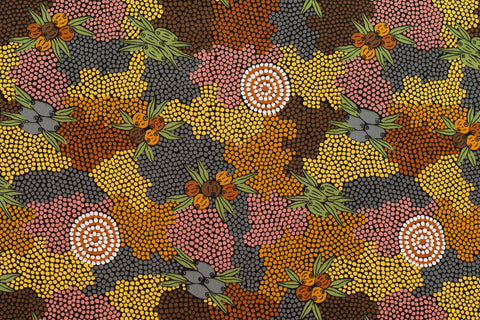 Bush Fruit Dreaming Aboriginal Pattern Fabric Per Metre